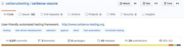 Cerberus Github repository with more than 6000+ commits, 100 stars, and 29 contributors