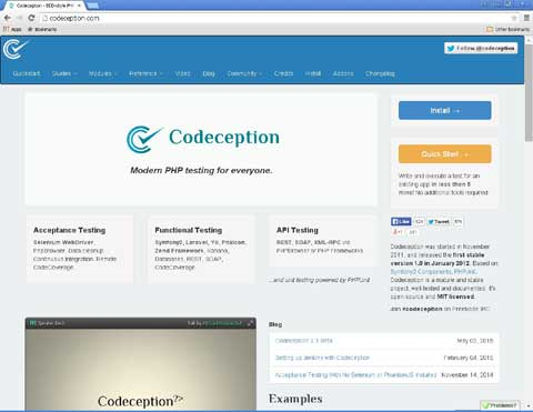 Codeception PHP open source testing tool