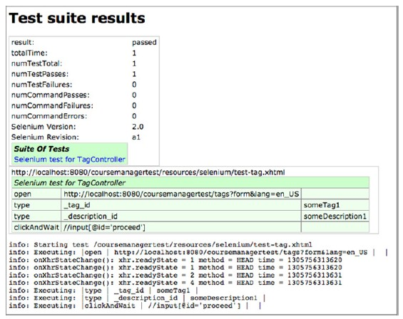 Successful Selenium report showing test run of the test-tag.xhtml test